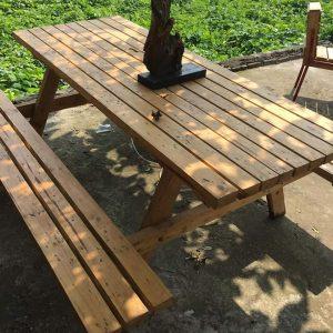 Bộ bàn ghế ăn liền ngoài trời