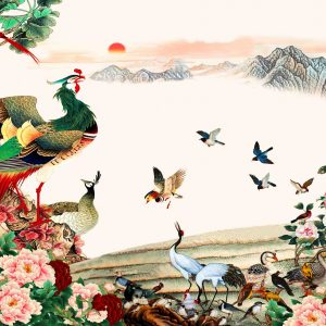 tranh gạch chim công