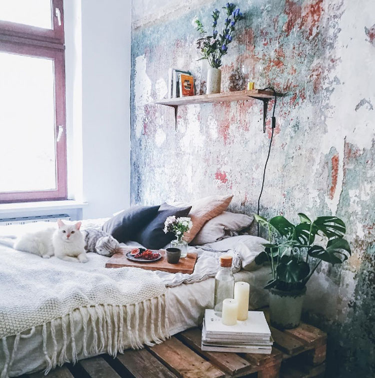 Bohemian Bedroom With Pallet Board Bed Frame